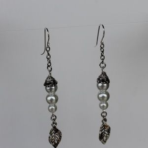 Silver and Pearl Earrings with leaf